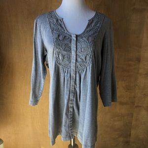 Coldwater Creek Grey Tunic with Lace Design❤️